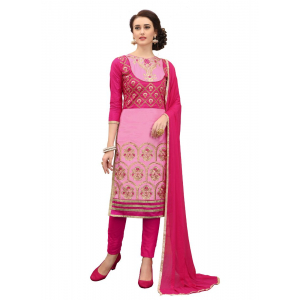 Generic Women's Cotton Salwar Material (Pink and Magenta, 2-2.5mtrs)
