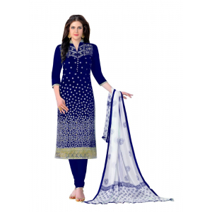 Generic Women's Cotton Salwar Material (Blue, 2-2.5mtrs)