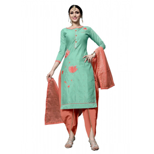 Generic Women's Cotton Salwar Material (Green, 2-2.5mtrs)