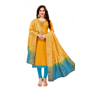 Generic Women's Slub Cotton Salwar Material (Yellow, 2-2.5mtrs)