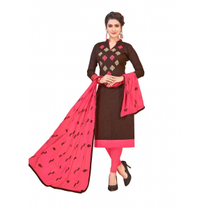 Generic Women's Slub Cotton Salwar Material (Brown, 2-2.5mtrs)