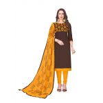 Generic Women's Glaze Cotton Salwar Material (Coffee, 2-2.5mtrs)