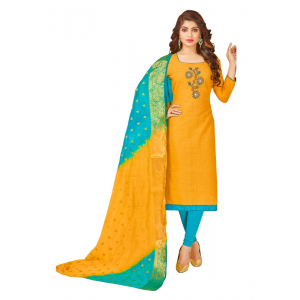 Generic Women's South Slub Cotton Salwar Material (Yellow, 2-2.5mtrs)