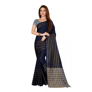 Generic Women's Cotton, Silk Saree with Blouse (Blue, 5-6 Mtrs)