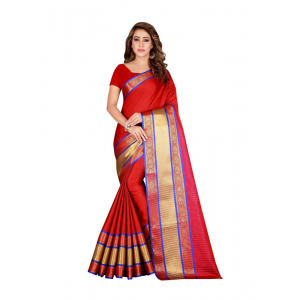 Generic Women's Cotton, Silk Saree with Blouse (Red, 5-6 Mtrs)