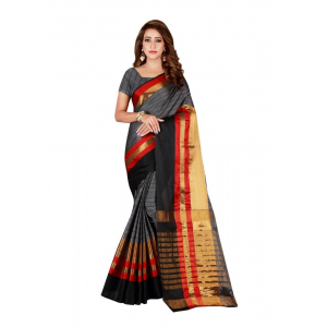 Generic Women's Cotton Blend Saree with Blouse (Grey, 5-6 Mtrs)
