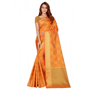 Generic Women's Kanjivaram Silk Saree with Blouse (Yellow, 5-6 Mtrs)