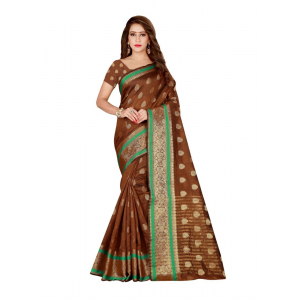Generic Women's Poly Silk Saree with Blouse (Coffee, 5-6 Mtrs)