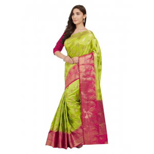 Generic Women's Nylon Silk Saree with Blouse (Green, 5-6 Mtrs)