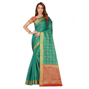 Generic Women's Kanjivaram Silk Saree with Blouse (Green, 5-6 Mtrs)