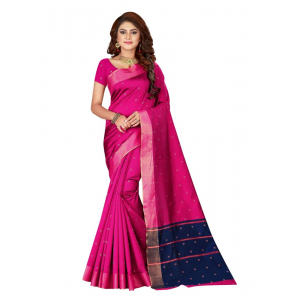 Generic Women's Cotton silk blend Saree with Blouse (Magenta, 5-6 Mtrs)