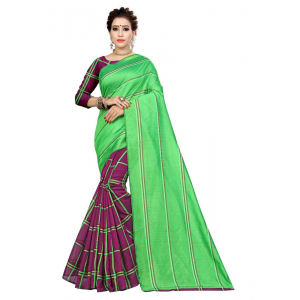 Turvi Women's Polyester Cotton Saree with Blouse (Multi, 5-6 Mtrs)
