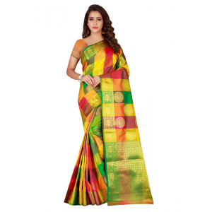 Turvi Women's Banarasi silk Saree with Blouse (Multi, 5-6 Mtrs)