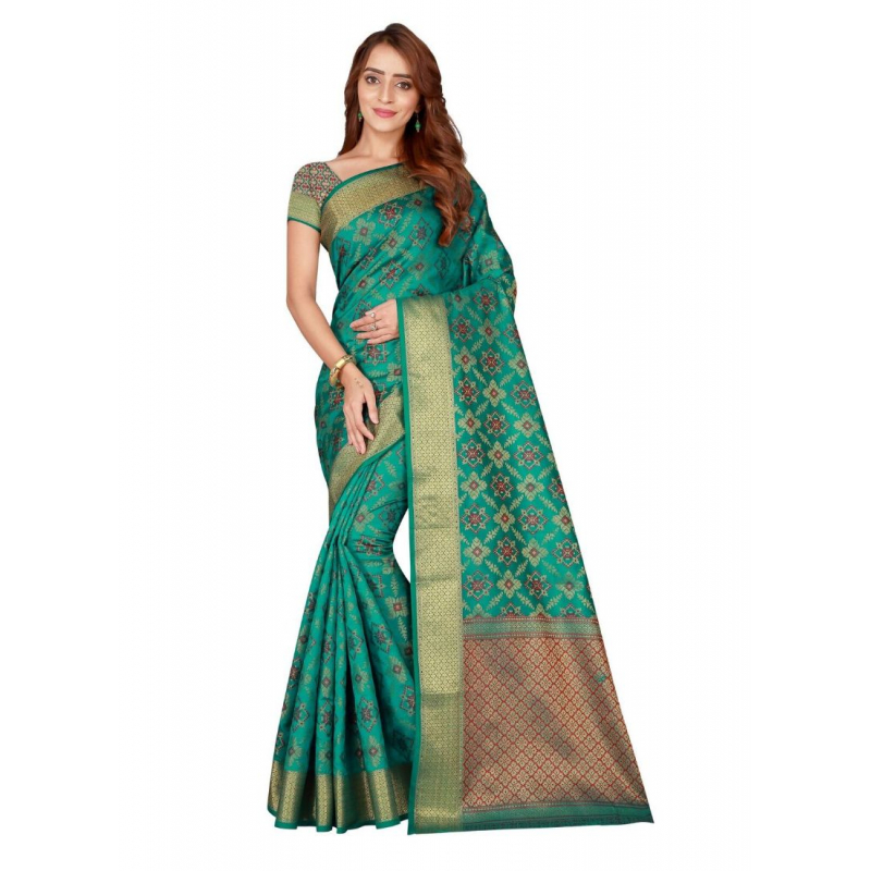 Turvi Women's Kanjivaram Silk Saree with Blouse (Green, 5-6 Mtrs)