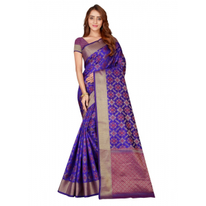 Turvi Women's Kanjivaram Silk Saree with Blouse (Blue, 5-6 Mtrs)