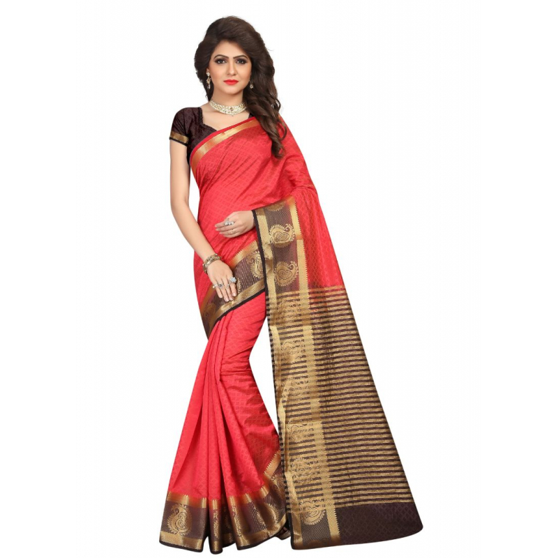 Generic Women's Nylon Silk Saree with Blouse (Red, 5-6 Mtrs)