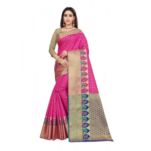 Generic Women's Kanjivaram Silk Saree with Blouse (Pink, 5-6 Mtrs)