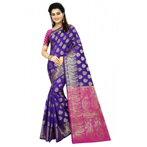 Generic Women's Jacquard Art silk Saree with Blouse (Blue, 5-6 Mtrs)