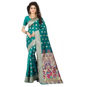 Generic Women's Jacquard Art silk Saree with Blouse (Green, 5-6 Mtrs)