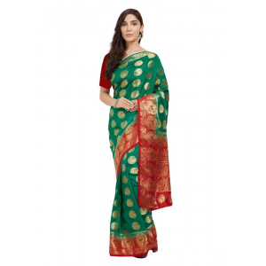 Turvi Women's Nylon Silk Saree with Blouse (Green, 5-6 Mtrs)
