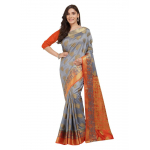 Generic Women's Nylon Silk Saree with Blouse (Grey, 5-6 Mtrs)