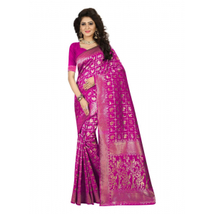 Turvi Women's Jacquard Art silk Saree with Blouse (Pink, 5-6 Mtrs)