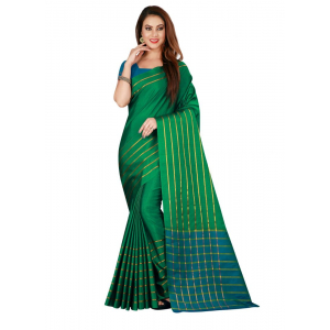 Generic Women's Cotton, Silk Saree with Blouse (Green, 5-6 Mtrs)