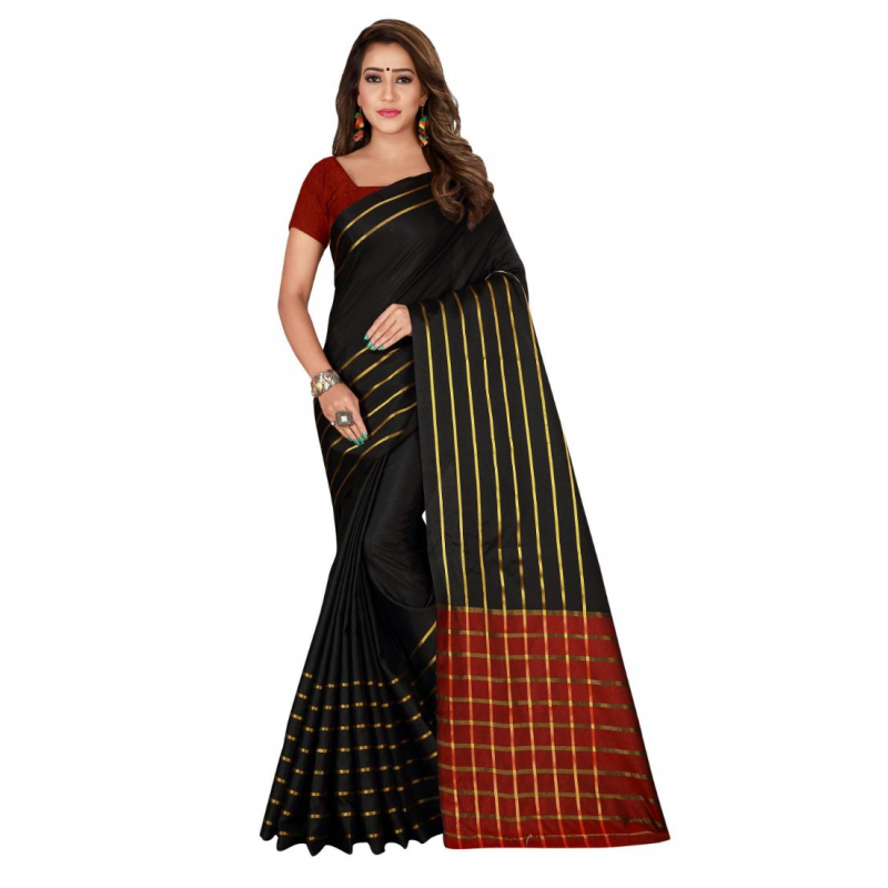 Generic Women's Cotton, Silk Saree with Blouse (Black, 5-6 Mtrs)