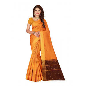 Generic Women's Cotton silk blend Saree with Blouse (Orange, 5-6 Mtrs)