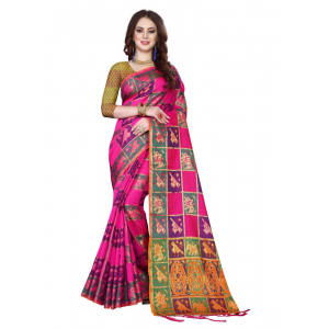 Turvi Women's Kanjivaram Silk Saree with Blouse (Multi, 5-6 Mtrs)