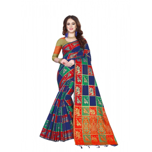 Generic Women's Kanjivaram Silk Saree with Blouse (Multi, 5-6 Mtrs)