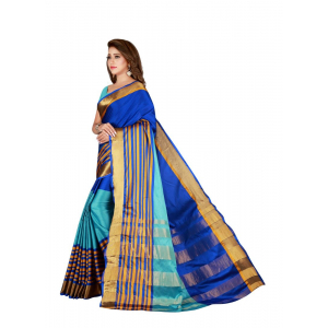 Generic Women's Cotton Blend Saree with Blouse (Multi, 5-6 Mtrs)