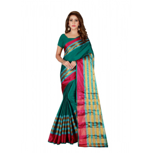 Turvi Women's Cotton Blend Saree with Blouse (Green, 5-6 Mtrs)
