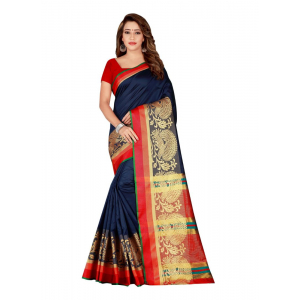 Turvi Women's Poly Silk Saree with Blouse (NavyBlue, 5-6 Mtrs)