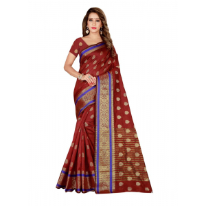 Turvi Women's Poly Silk Saree with Blouse (Maroon, 5-6 Mtrs)