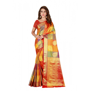 Generic Women's Banarasi silk Saree with Blouse (Multi, 5-6 Mtrs)