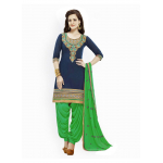 Generic Women's Cotton Salwar Material (Blue and Green, 2.25mtrs)