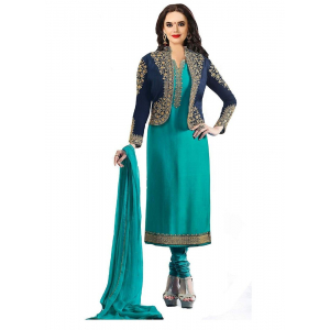 Generic Women's Georgette Salwar Material (Turquoise Green, 2.25mtrs)