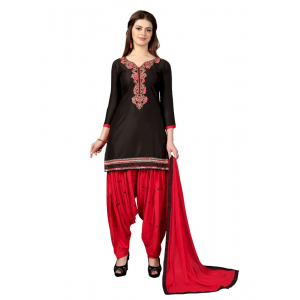 Turvi Women's Satin Salwar Material (Black and Red, 2.25mtrs)
