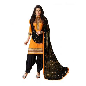 Turvi Women's Cotton Salwar Material (Black, Yellow, 2.25mtrs)