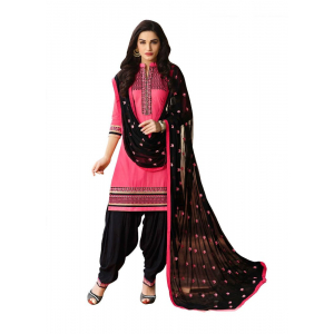 Generic Women's Cotton Salwar Material (Black and Magenta) 2.25mtrs)
