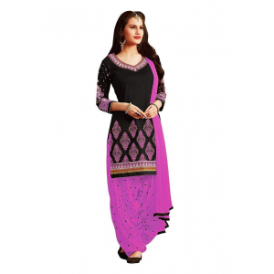 Turvi Women's Cotton Salwar Material (Black and Pink, 2.25mtrs)