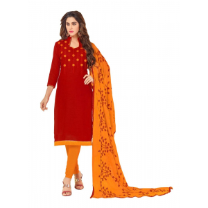 Generic Women's Slub Cotton Salwar Material (Red, 2 Mtr)