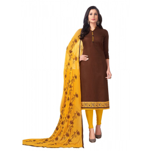 Generic Women's Cotton Salwar Material (Brown, 2 Mtr)