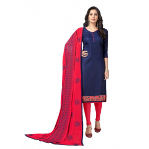 Generic Women's Cotton Salwar Material (Navy Blue, 2 Mtr)