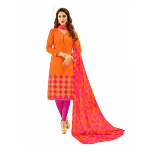 Generic Women's Cotton Jacquard Salwar Material (Orange, 2 Mtr)
