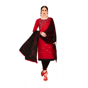 Generic Women's Glaze Cotton Salwar Material (Red, 2 Mtr)