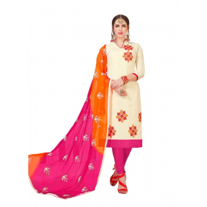 Generic Women's Slub Cotton Salwar Material (Off White, 2 Mtr)