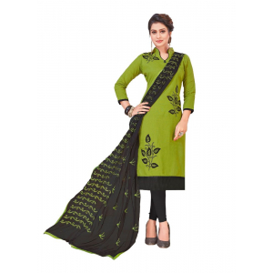 Turvi Women's Slub Cotton Salwar Material (Green, 2 Mtr)