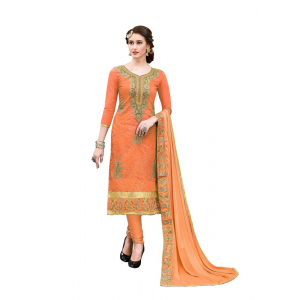 Generic Women's Chanderi Cotton Salwar Material (Orange, 2.20 Mtr)
